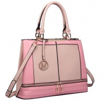 LT6619-Ladies Fashion Faux Leather Handbag Patchwork Tote Shoulder Bag Pink