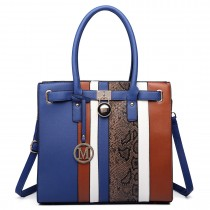 LT6620-Miss Lulu Women Faux Leather Sleek Stripe Tote HandBag blue