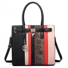 LT6620 - Miss Lulu Multi Panel Leather Look Snake Skin Stripe Handbag Black