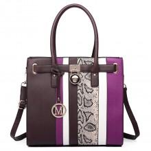LT6620 - Miss Lulu Multi Panel Leather Look Snake Skin Stripe Handbag Coffee