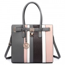 LT6620-Miss Lulu Women Faux Leather Sleek Stripe Tote HandBag Grey