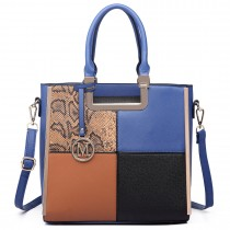 LT6621 - Miss Lulu Leather Look Four Panel Snakeskin Shoulder Handbag Blue