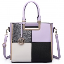 LT6621 - Miss Lulu Leather Look Four Panel Snakeskin Shoulder Handbag Lilac