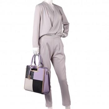 LT6621 - Miss Lulu Leather Look Four Panel Snakeskin Shoulder Handbag Lilac