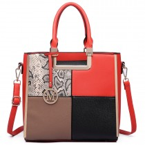 LT6621 - Miss Lulu Leather Look Four Panel Snakeskin Shoulder Handbag Red