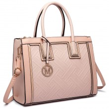 LT6622 - Miss Lulu Raised Cord Tote Handbag Faux Leather Nude