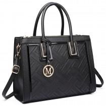 LT6622 - Miss Lulu Raised Cord Tote Handbag Faux Leather Black