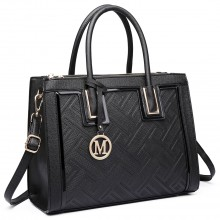 LT6622 - Miss Lulu Raised Cord Tote Handbag Faux Leather Black