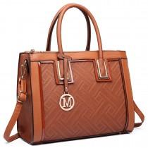 LT6622 - Miss Lulu Raised Leather Look Shoulder Bag Brown