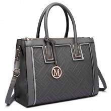 LT6622 - Miss Lulu Raised Cord Tote Handbag Faux Leather Grey