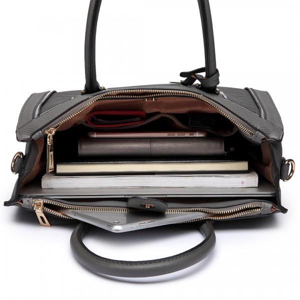 LT6622 - Miss Lulu Raised Cord Tote Handbag Faux Leather Grey