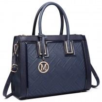 LT6622 - Miss Lulu Raised Cord Tote Handbag Faux Leather Navy