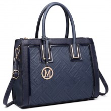LT6622 - Miss Lulu Raised Cord Tote Handbag Faux Leather Navy