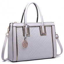 LT6622 - Miss Lulu Raised Cord Tote Handbag Faux Leather White