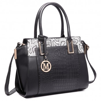 LT6623-Miss Lulu Snake Print Winged Tote Handbag black