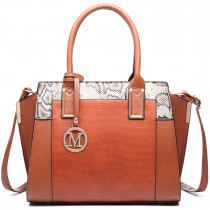 LT6623-Miss Lulu Snake Print Winged Tote Handbag brown