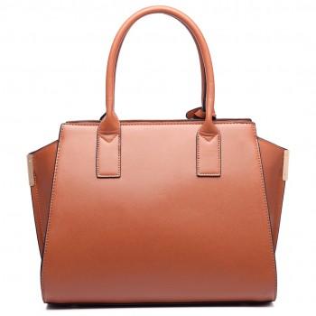 LT6623 - Miss Lulu Snake Print Winged Tote Handbag Brown