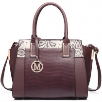 LT6623-Miss Lulu Snake Print Winged Tote Handbag coffee