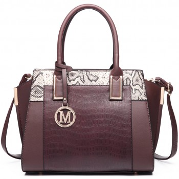 LT6623 - Miss Lulu Snake Print Winged Tote Handbag Coffee