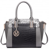 LT6623-Miss Lulu Snake Print Winged Tote Handbag Grey