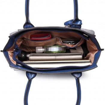 LT6623 - Miss Lulu Snake Print Winged Tote Handbag Navy
