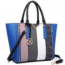 LT6624 - Miss Lulu Panelled Stripe Design Tote Handbag Blue
