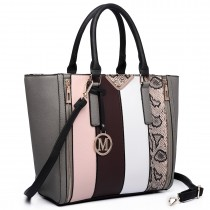 LT6624- Miss Lulu Panelled stripe design Tote Handbag gray