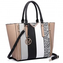 LT6624- Miss Lulu Panelled stripe design Tote Handbag Nude