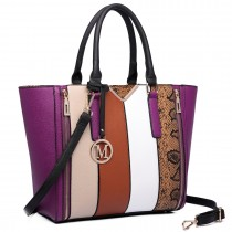 LT6624- Miss Lulu Panelled stripe design Tote Handbag pueple
