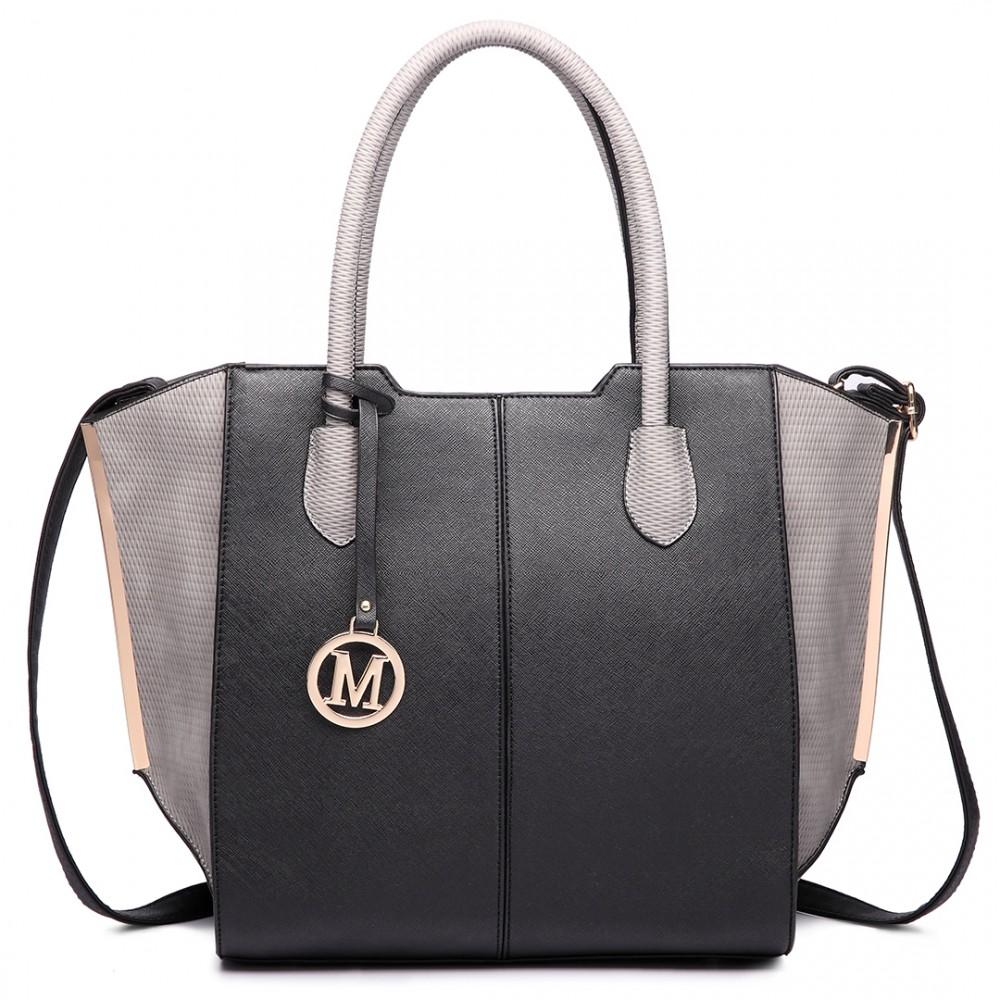 7df155fc44c2d LT6625- Fräulein Lulu Damen große Taschen-Tasche Faux Leder schwarz