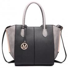 LT6625 - Miss Lulu Ladies Large Tote Bag Faux Leather Black