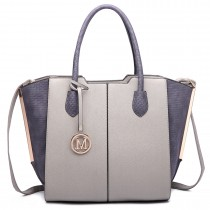 LT6625- Miss Lulu Ladies Large Tote Bag Faux Leather grey