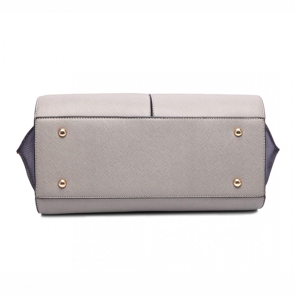 LT6625 - Miss Lulu Ladies Large Tote Bag Faux Leather Grey 1d3f1a8f51b77