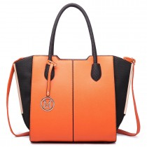LT6625- Miss Lulu Ladies Large Tote Bag Faux Leather orange