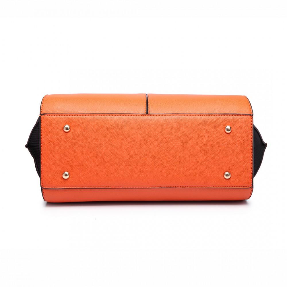 LT6625 - Miss Lulu Ladies Large Tote Bag Faux Leather Orange aa4557868ae81