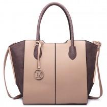 LT6625- Miss Lulu Ladies Large Tote Bag Faux Leather tan