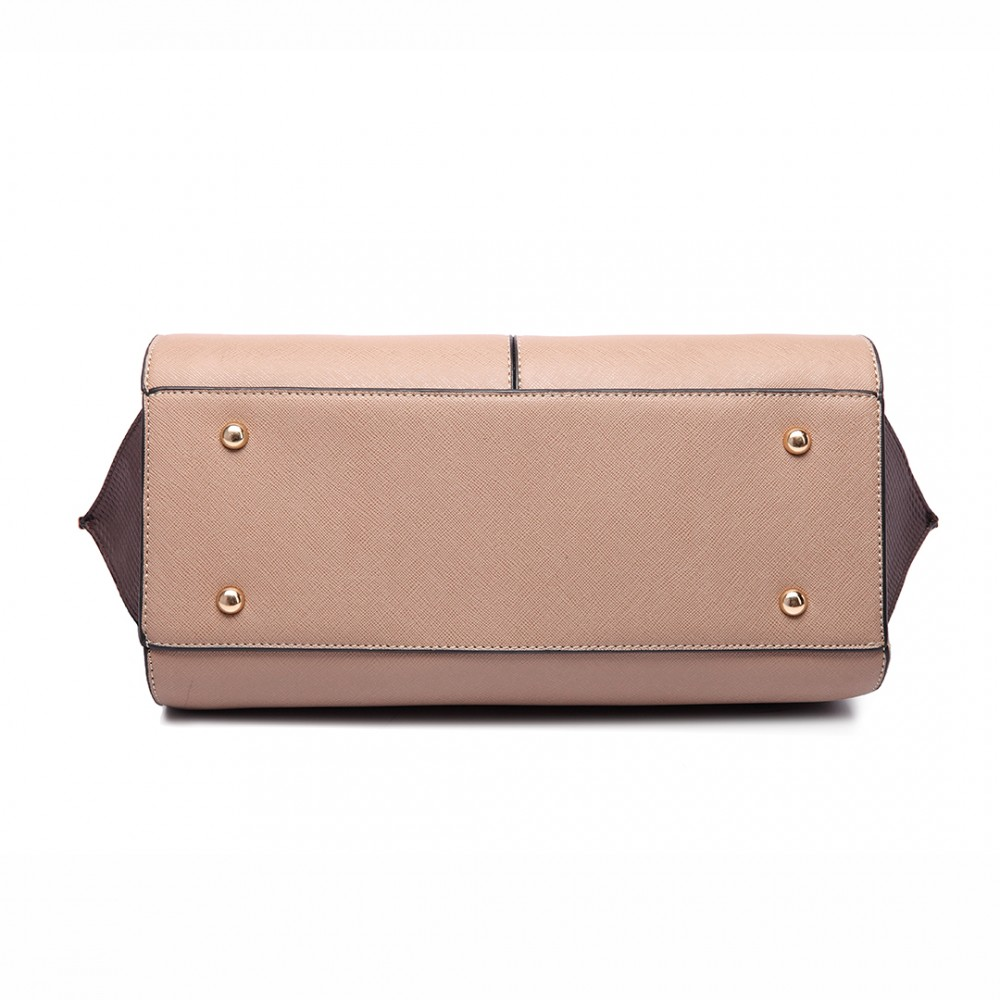 LT6625 - Miss Lulu Ladies Large Tote Bag Faux Leather Tan 10bff0344320e