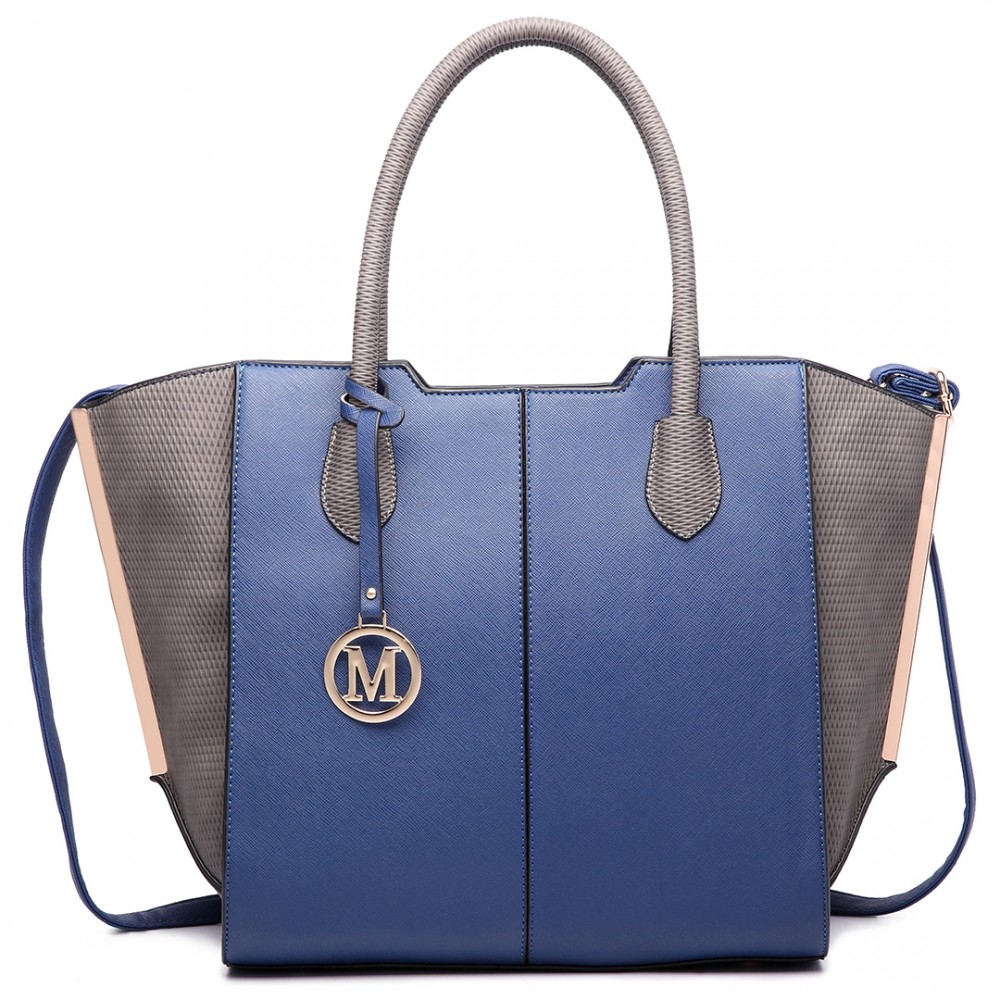 LT6625 - Miss Lulu Ladies Large Tote Bag Faux Leather Navy 3c21574a63a4b