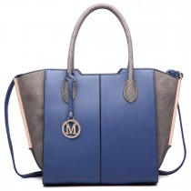 LT6625- Miss Lulu Ladies Large Tote Bag Faux Leather navy