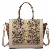 LT6626 -Miss Lulu Faux Leather Snakeskin Pattern Winged Tote Bag khaki