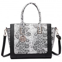 LT6626 -Miss Lulu Faux Leather Snakeskin Pattern Winged Tote Bag black