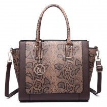 LT6626 -Miss Lulu Faux Leather Snakeskin Pattern Winged Tote Bag coffee