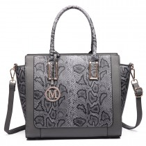 LT6626 -Miss Lulu Faux Leather Snakeskin Pattern Winged Tote Bag grey