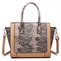 LT6626 -Miss Lulu Faux Leather Snakeskin Pattern Winged Tote Bag beige