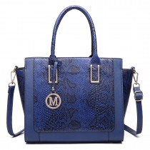 LT6626 - Miss Lulu Faux Leather Snakeskin Pattern Winged Tote Bag NAVY