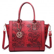 LT6626 -Miss Lulu Faux Leather Snakeskin Pattern Winged Tote Bag red