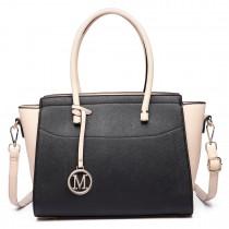 LT6627 -Miss Lulu Ladies Faux Leather Large Winged Tote Bag Handbag Black/Beige