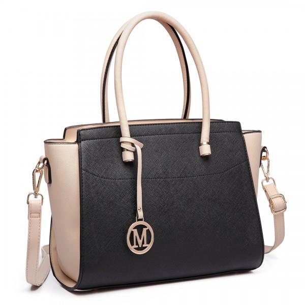 LT6627 - Miss Lulu Faux Leather Large Winged Tote Bag Handbag Black/Beige