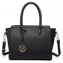 LT6627 -Miss Lulu Ladies Faux Leather Large Winged Tote Bag Handbag Black