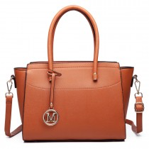LT6627 -Miss Lulu Ladies Faux Leather Large Winged Tote Bag Handbag brown